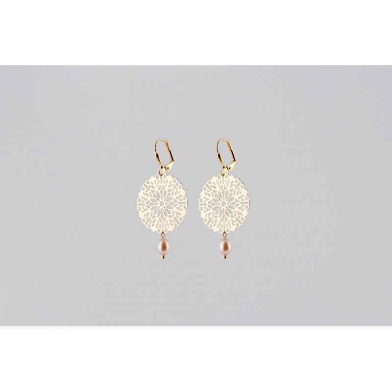 Mandala mit Tropfen Perle Ohrringe gold