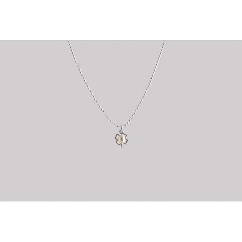 Kleeblatt mit Perle Halskette Silber