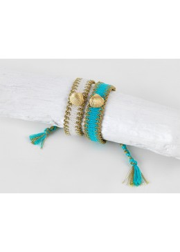 ARIEL Braccialetto intrecciato in cotone/filo bianco e beige