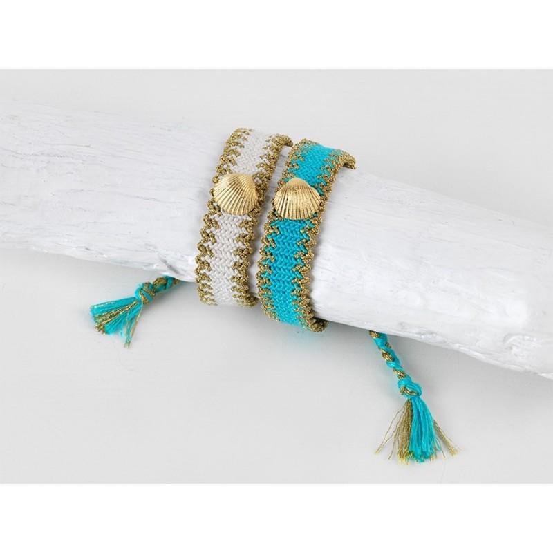 ARIEL Bracelet Geflochtene Baumwolle/Seide weiß und beige