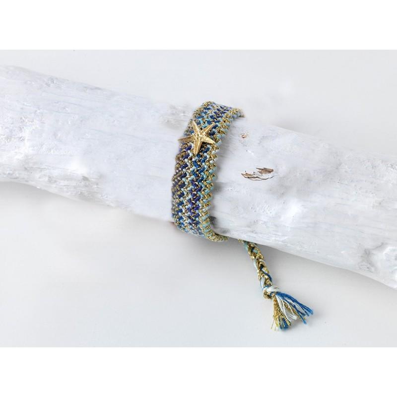STARFISH-Armband Geflochtene Baumwolle / Seide Farbe blau