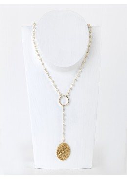 LIZ Rosary Necklace  Silver  Gold Plated with Pearls