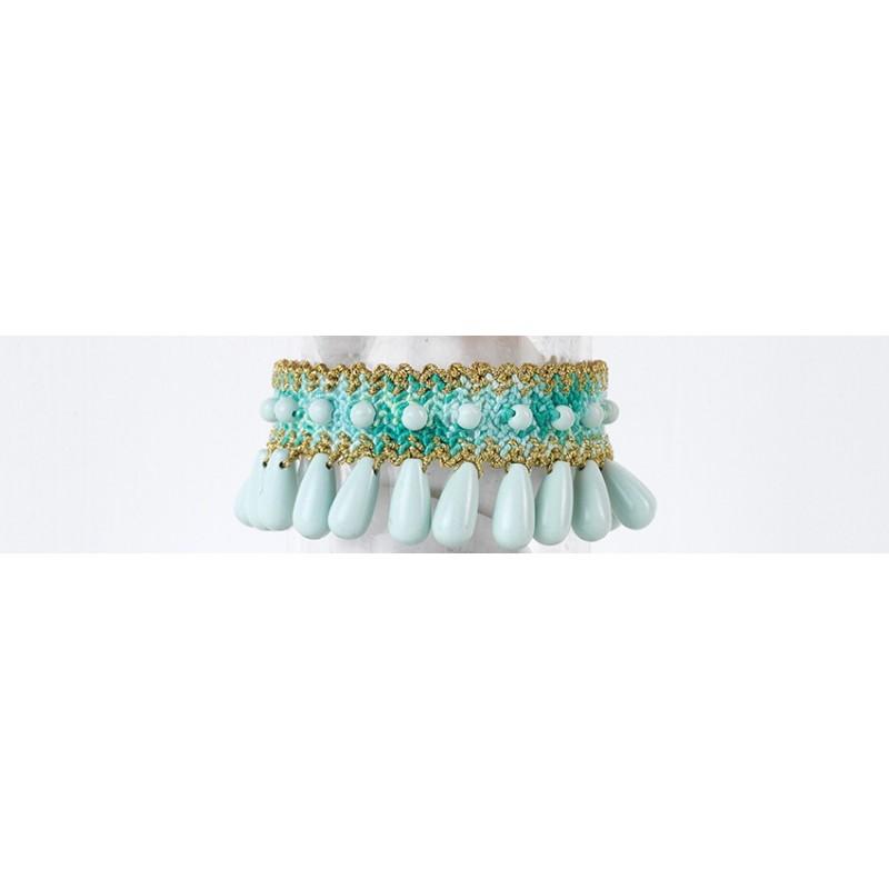 THALIA DROPS Bracciale intrecciato in cotone/filo con Pietre