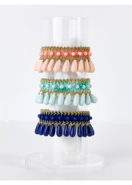 THALIA DROPS Bracelet braided cotton/floss with Stones