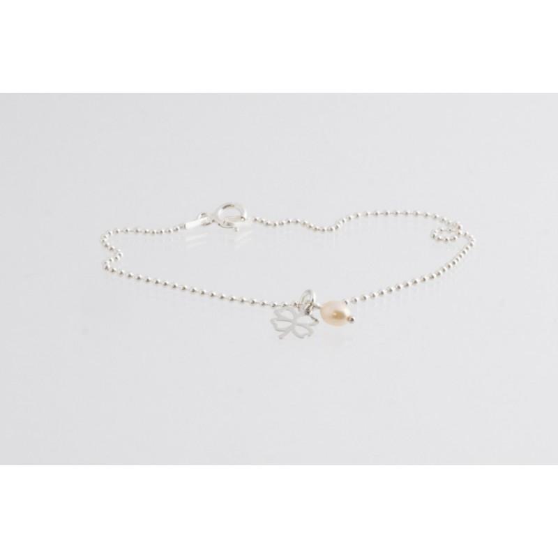 Armband Kette kleeblatt mit Perle Silber