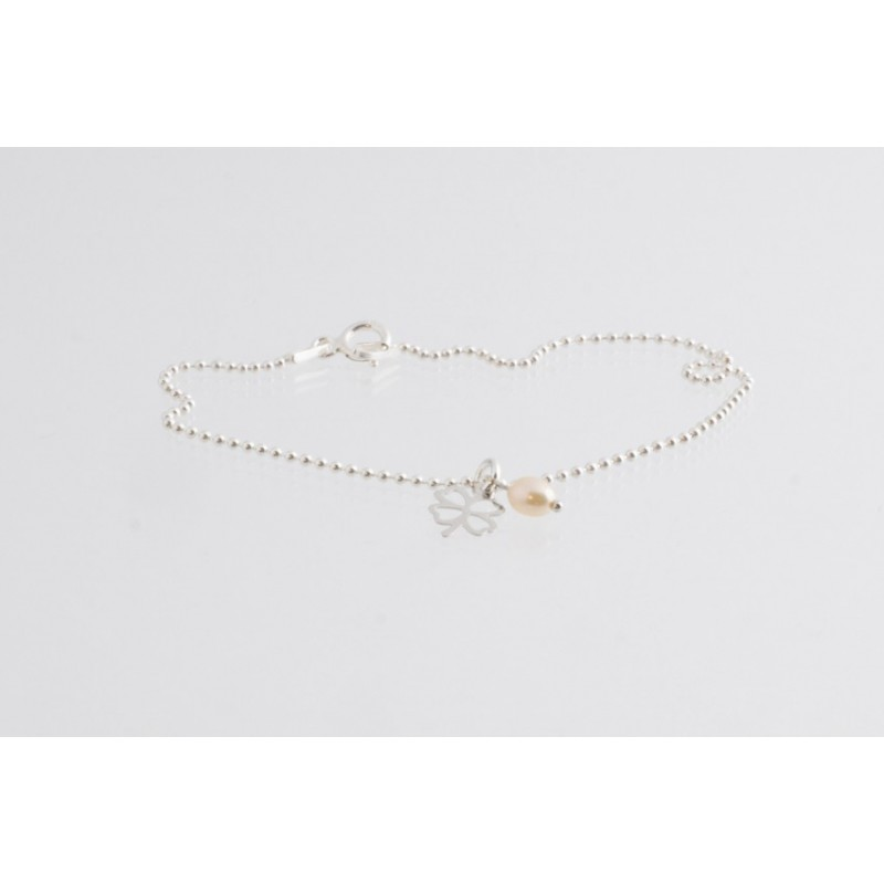 Bracelet chain clover with pearl silver
