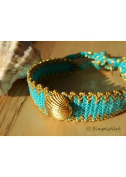 ARIEL Bracelet braided cotton/floss turquoise