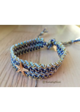 STARFISH Bracelet braided Cotton / Floss color blue