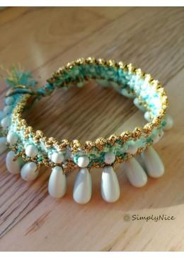 THALIA-TROPFEN-Armband Geflochtene Baumwolle/Seide mit Steinen
