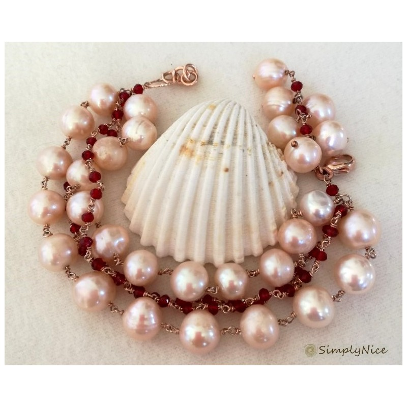 """Rose Flower Pearls"" bracelet"