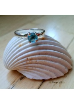 """Aqua Zircon Clear"" Ring"