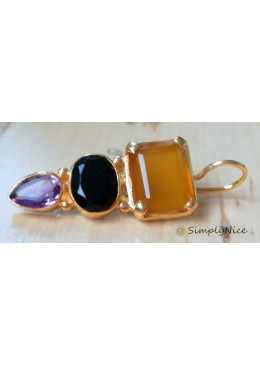 """Onyx Amethyst"" Earrings"