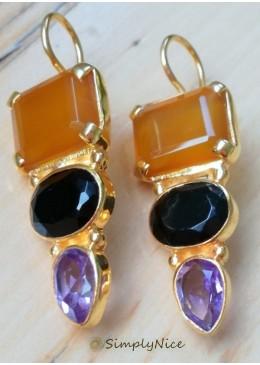 """""""Onyx Amethyst"""" Earrings"""