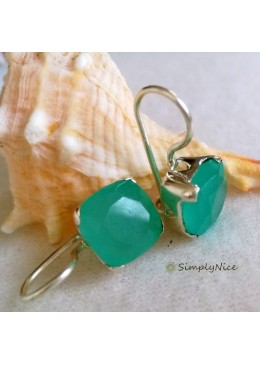 """Aqua Chalcedony"" Earrings"