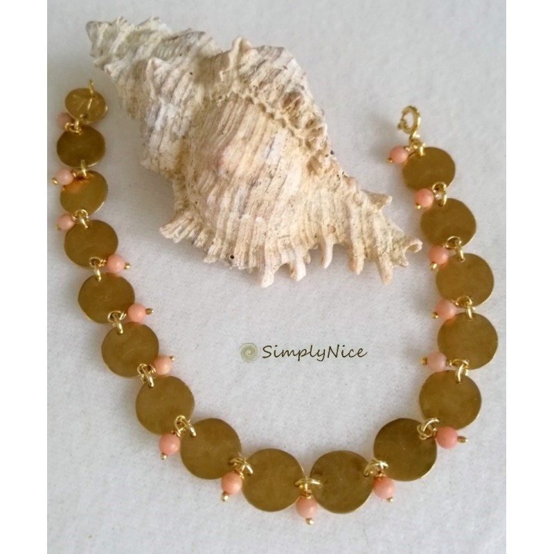 SOPHIA-Armband Silber Doppel-Gold Plated Mit Perlmutt
