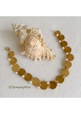 SOPHIA Bracciale in Argento Placcato Oro con Acqua dolce Perla
