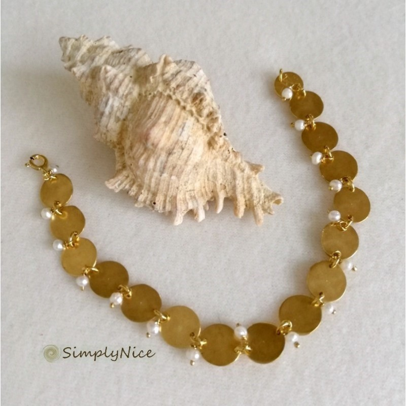SOPHIA Bracelet Silver Gold Plated with Fresh Water Pearl