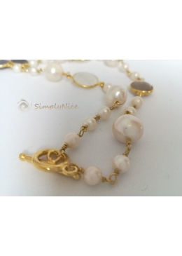"""Moonstone & Agatha"" Necklace Gold"