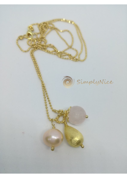 """Pink Quartz"" Necklace Gold"