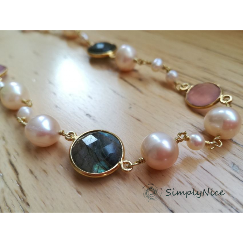 """""""Labradoride & Quartz"""" Necklace Gold"""