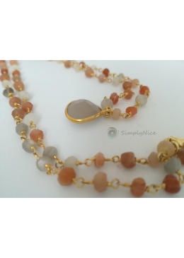 """Agatha & Moonstone"" Necklace Gold"
