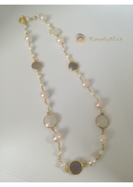 """""""Moonstone & Agatha"""" Necklace Gold"""
