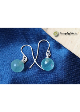 """Chalcedony Ball"" Earrings Silver"