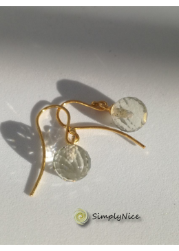"""Green Amethyst"" Earrings Gold"