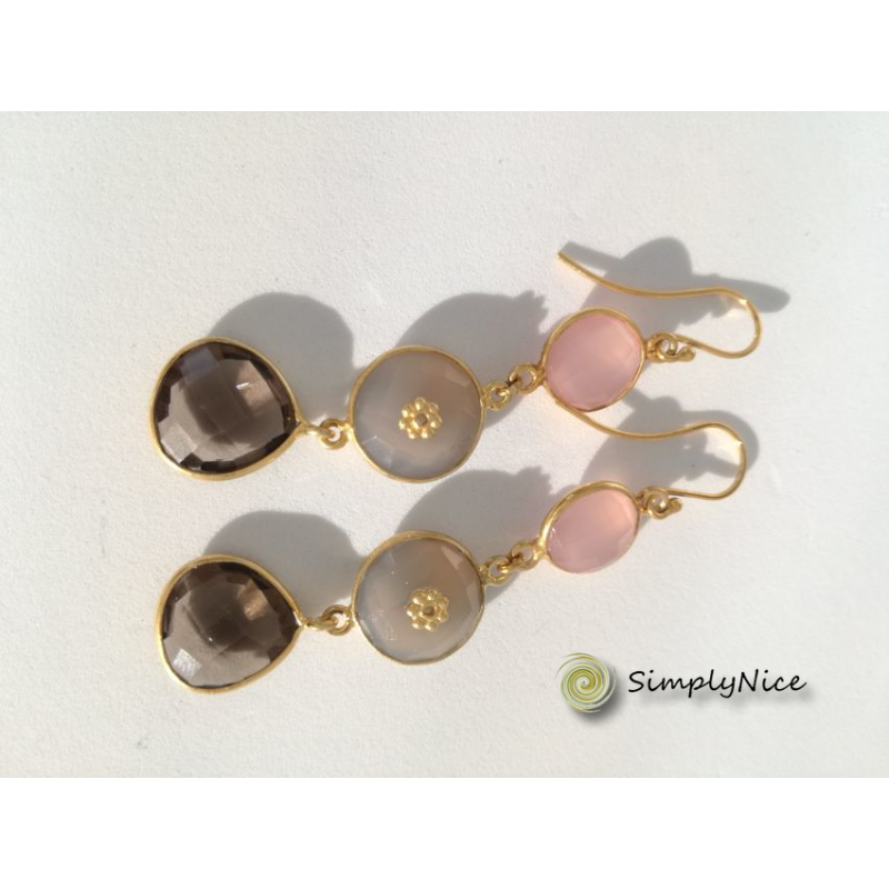 """Quartz & Agatha"" Earrings Gold"