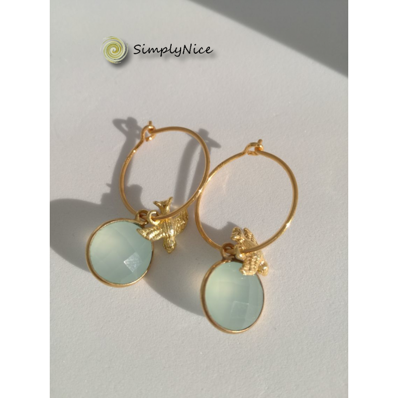 Chalcedony Earrings Gold