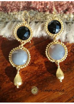 """""""Onyx & Agatha"""" Ohrringe-Gold"""