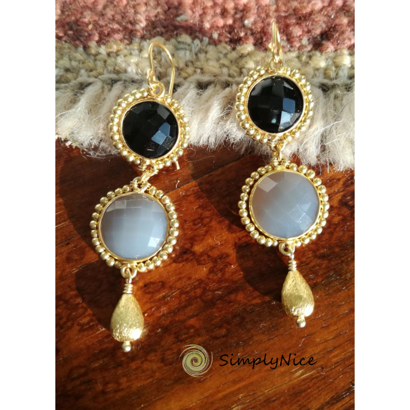"""Onyx & Agatha"" Earrings Gold"