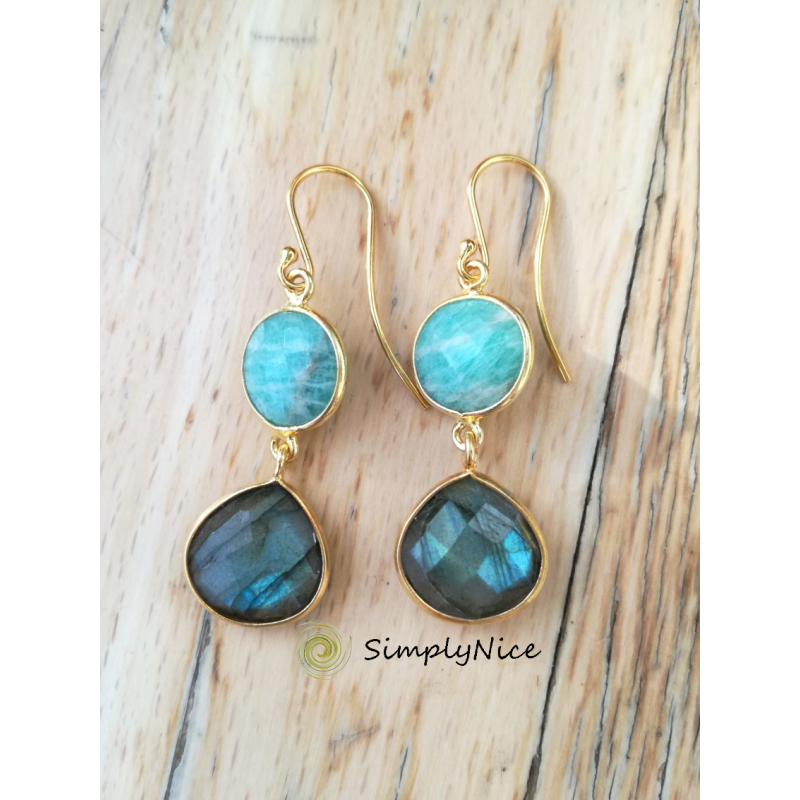 """Amazonite Labradoride"" Earrings"