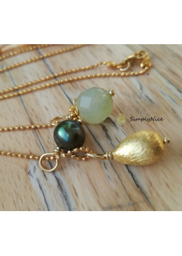 """Jade"" Necklace Gold"