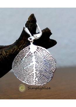 Linden leaf earrings silver