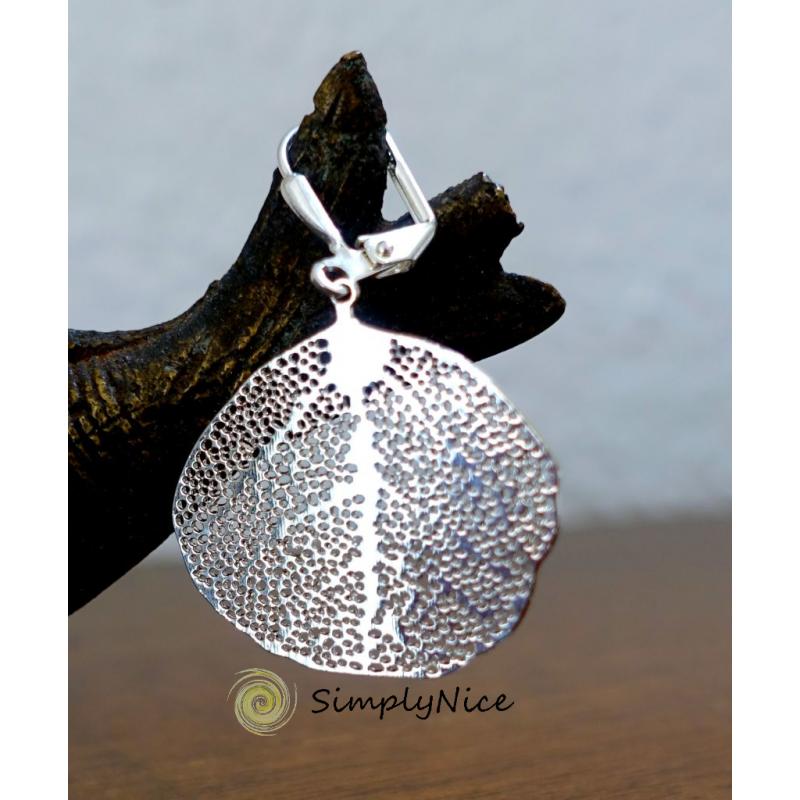Linden leaf earrings silver