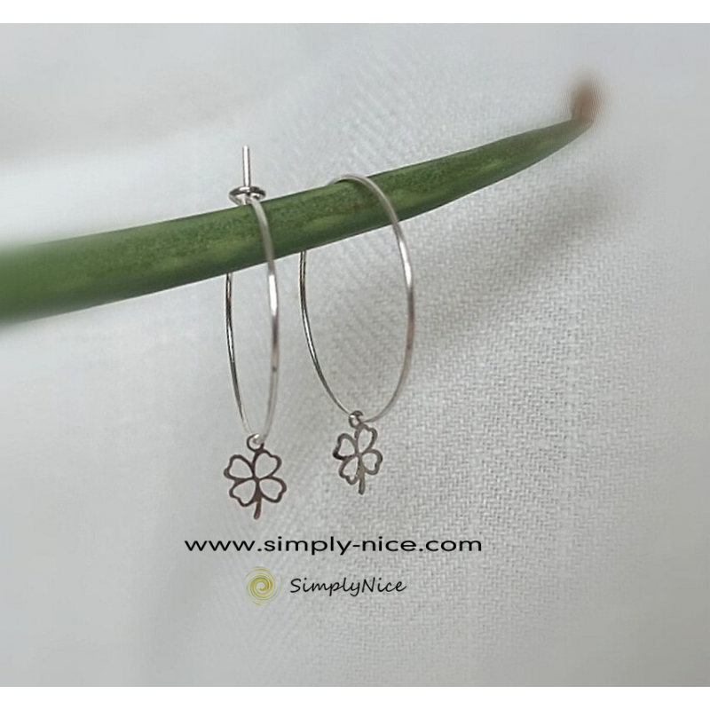Clover creole earrings silver