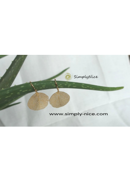 Linden leaf earrings gold