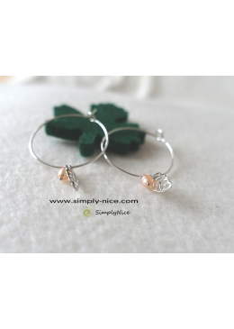 Mini leaf with pearl earrings silver