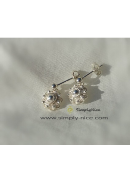 Earrings Silver Zeeland button