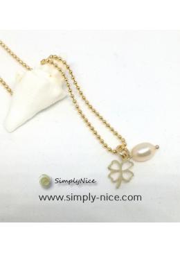 Kleeblatt mit Perle Halskette gold