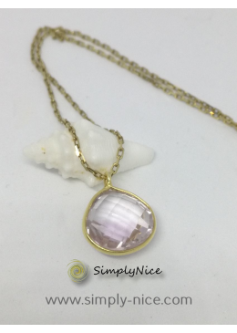 """Amethyst Rosa"" Necklace Gold"