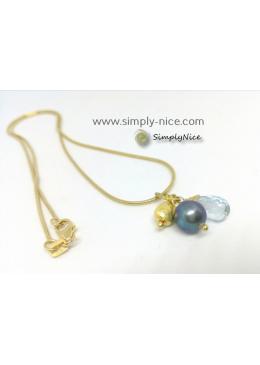 """""""Blue Topaz"""" Necklace Gold"""