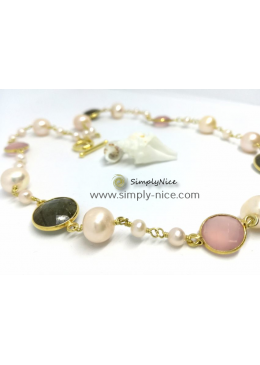 """Labradoride & Quartz"" Necklace Gold"