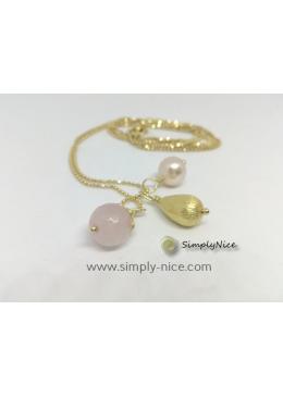 """""""Pink Quartz"""" Necklace Gold"""