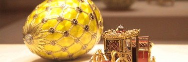Faberge Empire: famous eggs, floral patterns & variety of styles.